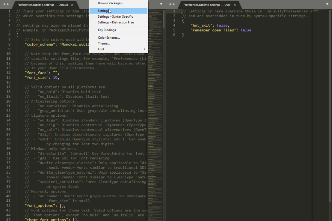 Tell Sublime Text to Forget Tabs on Close